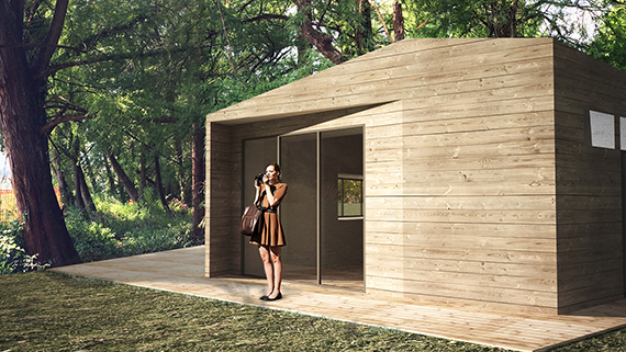 Design for a wood stand into the 'Bosco dei Taxodi' in Paratico (BS) Italy